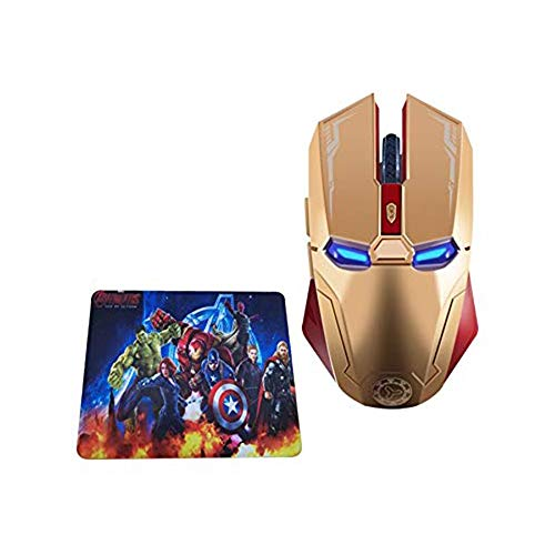 2.4 GHz Wireless Mouse, Six-Button Silent Wireless Computer Mice with 1200/1600/2400 Adjustable Portable USB Mouse for Desktop/Laptop/PC(Gold with Mouse Pad)