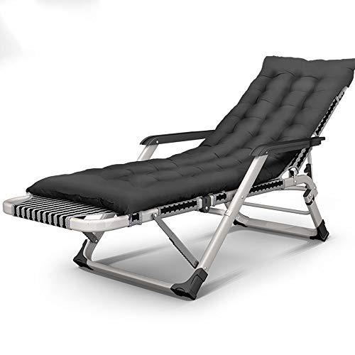 BCX Proceso de preparación de la silla plegable Ajuste de múltiples ángulos Pasamanos de masaje Silla ensanchada Suave y cómodo Viaje para adultos Playa Familia Duradero A ++,Silla de rejilla negra P