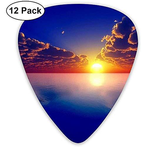Sunrise Lake gitaar, pickset, gitaar, bas, mandoline, ukelele 0,46 mm, 0,71 mm, 0,96 mm, pak van 12 plectrums, met plectrumhouder