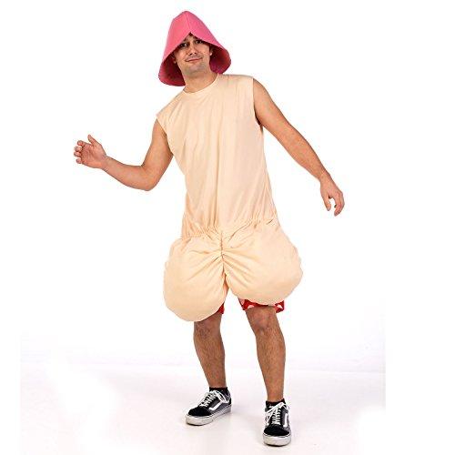 Crazy Penis Fun Costume pour Hommes pour Enterrement de Vie de Garçon Fête 2 Pièces Chapeau et Haut - M