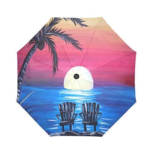 AOTISO Acogedora Orilla de Playa Tropical y sillas Coloridas, portátil, Resistente al Viento, a Prueba de Lluvia, protección Solar, Paraguas Plegable automático de Apertura y Cierre