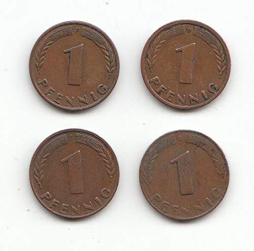 generisch Set 4 x 1 Pfennig D, F, G, J 1948 Bank Deutscher Länder 1948 (Münzen für Sammler)