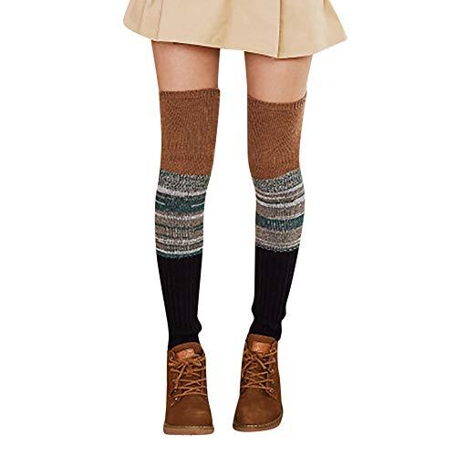 ODJOY-FAN Frau Warm Wintersocken Wolle Verdicken Patchwork Strickensocken Damen Halterlose Strümpfe Wärmer Gestrickt Häkeln Socken Leggings(C,1 Paar)