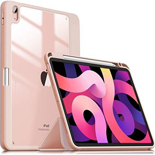 INFILAND Funda Case para iPad Air 4 Generación,iPad 10.9 Inch 2020 Cover Soporte,[Auto-Reposo/Activación Cubierta] [Trasera Transparente] [Carcasa Ligera] [Ultra Delgada Estuche],Rosa