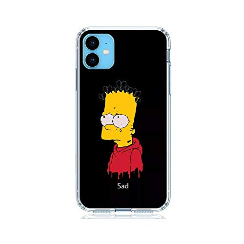 Clear Silicone TPU Matte Anti-Shock Coque Cover Case for Apple iPhone 11-Funny-Bart Homer-Simpson Black 6