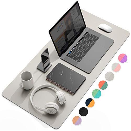 Multifunktionales Office Mauspad, 80 x 40 cm YSAGi Wasserdichte Schreibtischunterlage aus PU-Leder, Ultradünnes Mousepad zweiseitig nutzbar, ideal für Büro und Zuhause (Silber, 80 x 40 cm)