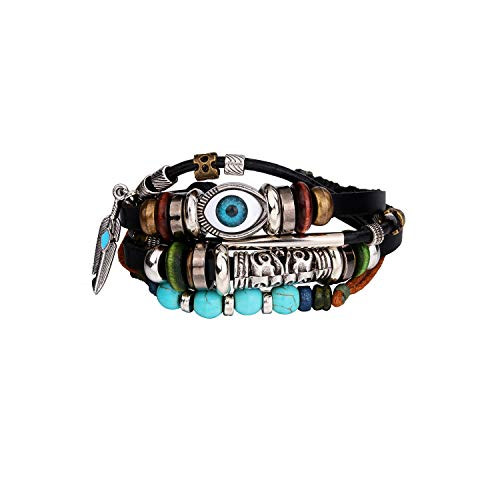 Braccialetto del Braccialetto Regalo dei Gioielli,Handmade Boho Gypsy Hippie Brown Leather Bracelet Men Rope Cord Hand Turquoises Charm Stackable Wrap Bracelets for Women Jewelry B066-1