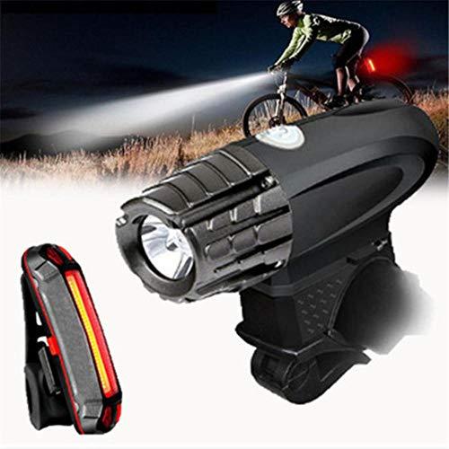 Root of all evil Fahrrad Scheinwerfer USB Lade Scheinwerfer USB Rücklicht Set Fahrrad Scheinwerfer Fahrrad Sicherheitslicht-Scheinwerfer + Wiederaufladbares Rücklicht