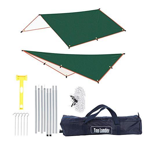 Bicaquu Silver Coating Camping Tarp, Rain Fly Tarp UV Protection Waterproof Camping Hammock Tarp Multifunctional Tent Footprint With Carrying Bag, Tent Tarp for Hiking and Travel