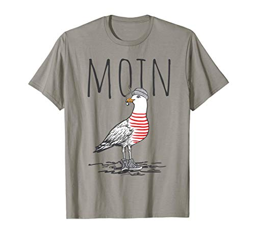 Moin Digga Spruch T-Shirt I Möwe Vogel See Meer Segeln T-Shirt