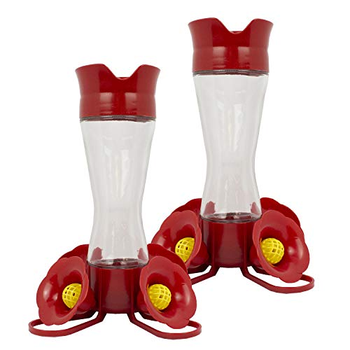 Perky Pet 203CPBN-2 8. oz Pinch-Waist Glass Hummingbird Feeder – 2 Pack, Red