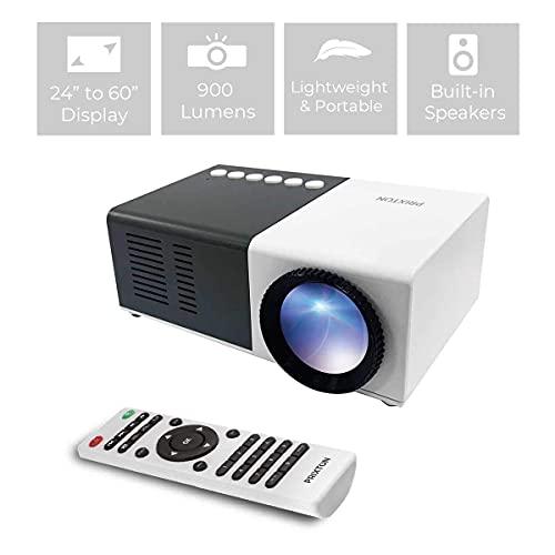 PRIXTON Cinema Mini - Mini Proyector Portatil / Proyector Mini Full HD, 900 Lúmenes, Conexión HDMI, USB, MicroSD, Aux in, AV in, Altavoces Integrados y Mando a Distancia Incluido (Reacondicionado)