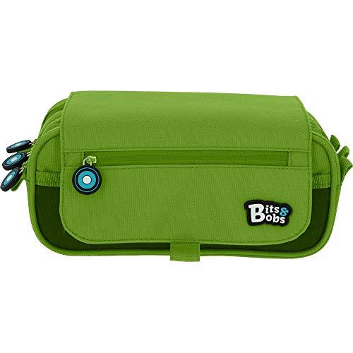 Grafoplás Bits & Bobs, Estuche Escolar 3 Compartimentos con Solapa, 23 cm, Verde