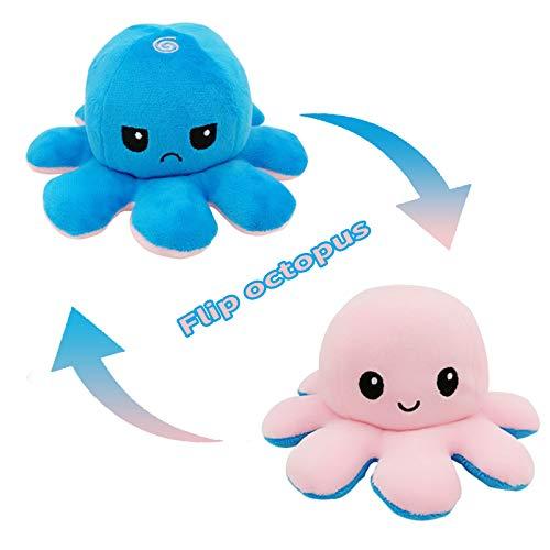 NL Reversible Octopus Plüsch Doppelseitige Flip Octopus Plüschtiere Niedliche weiche Stimmung Octopus Tiere Puppenspielzeug Geschenke für 0-3 3-6 6-9 6-18 Monate 1-6 Jahre alte Jungen Mädchen
