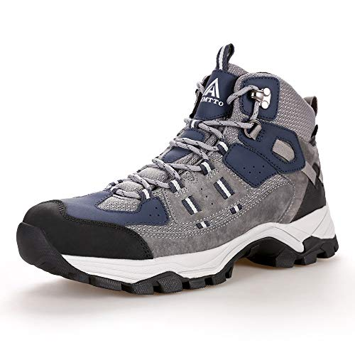 Men's Lightweight Water Repellent Leather Hiking Boots Outdoor Walking Shoe Grey Size 12