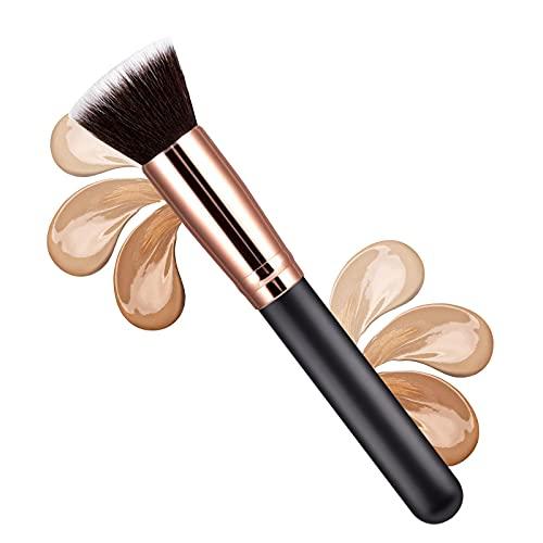Pincel para base de Maquillaje Profesional Kabuki,Brocha para Polvos, Pincel Facial Ideal para polvos, maquillaje de rostro(Negro)