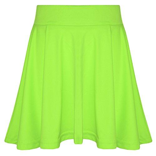 A2Z 4 Kids A2Z 4 Kids Mädchen Rocks Kinder Schule Mode Sommer - Plain Skater Skirt Neon Green 7-8