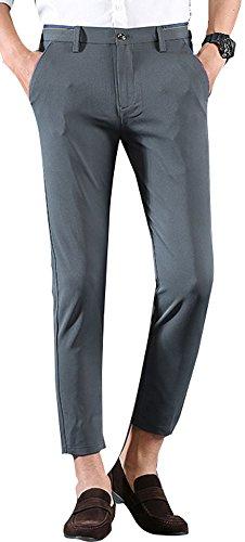 Plaid&Plain Men's Stretch Skinny Fit Casual Business Pants 8618 Ankle Dress Pants 8618 Grey 28