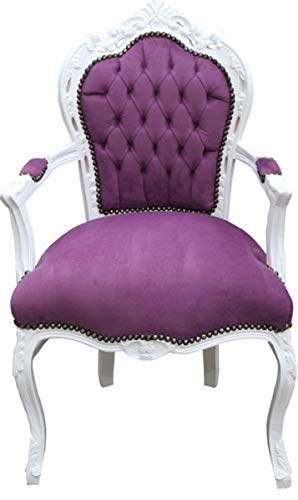 Casa Padrino Barock Esszimmer Stuhl mit Armlehnen Lila/Weiß