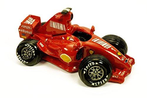"""Hucha Infantil Decorativa """"Coche de Fórmula 1""""Figuras Resina. 20 x 12 x 9 cm."""