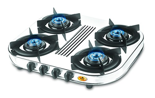 Bajaj Majesty Stainless Steel CX 10 D 4-Burner Cooktop, Silver