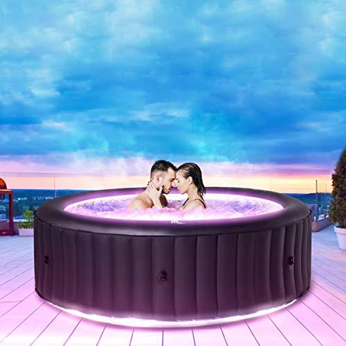 Miweba MSpa aufblasbarer Whirlpool 2021 Aurora U-AU06 Outdoor - inkl. LED RGB - für 6 Personen - 138 Düsen - 204 x 70 cm - Tüv GS geprüft - 930 Liter - Pool aufblasbar (Urban Aurora 6 Personen)
