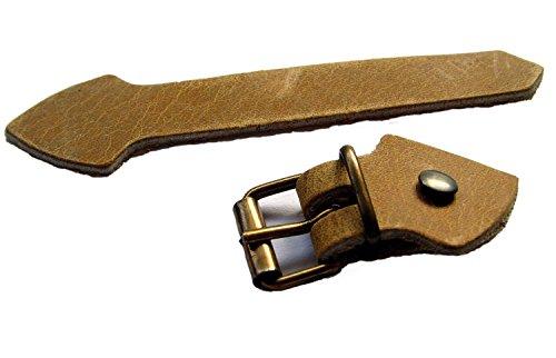 Lederriemen Set mit Schnalle Messing Nieten 5 Pack zum selber basteln 20mm Farbe hell-braun