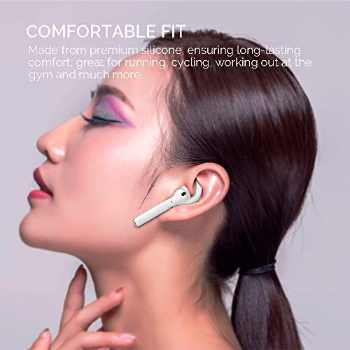 AhaStyle 3 Pairs Ear Hooks Cover Silicone Accessories Tips Compatible with Apple AirPods 2 & 1 or EarPods-[Added Silicone Storage Pouch](S/M/L) (White)