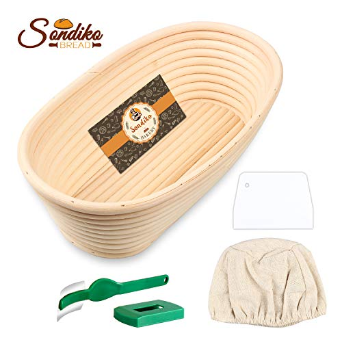 Sondiko Oval Bread Proofing Basket, Handmade Banneton Bread Proofing Basket Brotform with Bread Lame, Dough Scraper, Proofing Cloth Liner for Sourdough Bread, Baking(9.6 x 6 x 3 inches)