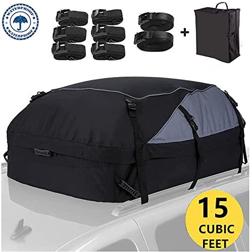 Auto Dachbox Active Faltbare Dachträgertasche 425L Dachkoffer wasserdichte Dachgepäckaufbewahrungsbox für Reise und Gepäcktransport, Autos, Vans, SUVs, Schwarz