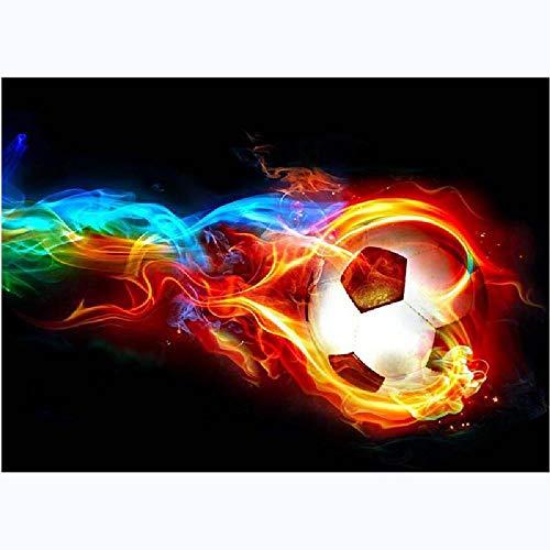 GAGALAM Malen Nach Zahlen Kinder Flamme Fußball Geburtstagsgeschenk,60x75cm
