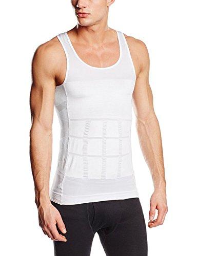 Sodacoda Herren Körperformendes Bauch Weg Kompression Unterhemd (Weiß L)