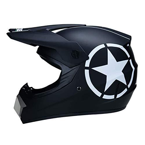 CZLWZZD Motocross-Helm, Handschuhmaske und Schutzbrille (4er-Set) DOT-geprüfte Full Face Crash-Motorradhelme Kinder Quad Bike ATV Go-Kart Helm Gewicht 1200g 5 Style (52-59 cm)