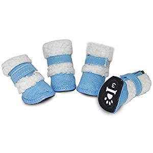 URBEST 4Pcs Puppy Dog Shoes, Booties Boots for Small Dogs, Warm Snow Boots for Winter Paw Protector
