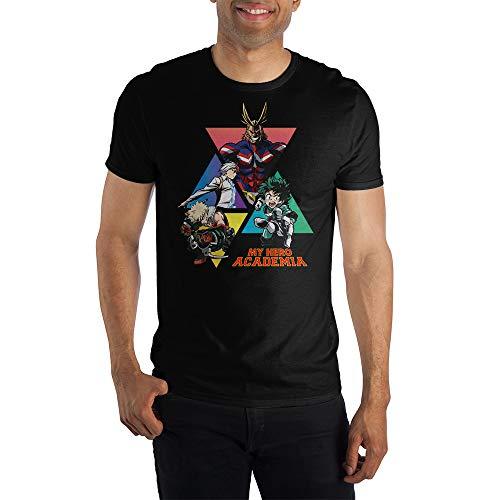 MHA My Hero Academia Graphic Men's Black T-Shirt Tee Shirt-Large