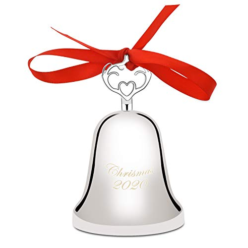 2020 Annual Christmas Bell,Silver Bell Ornament for Christmas Decorations, Bell Ornament for Christmas Anniversary,Red Ribbon & Gift Box (Nickel-Plated)