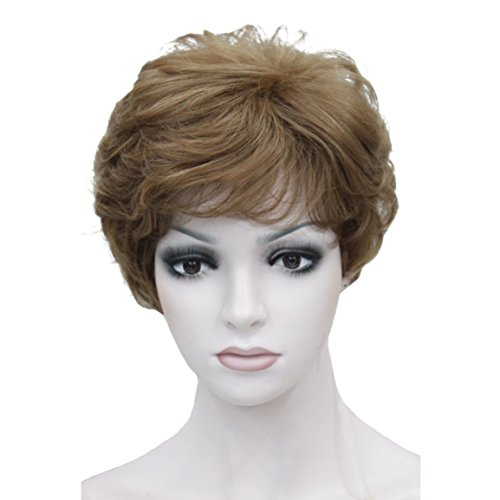 Wiginway Lady Women Short Syntheic Natural Wave Wigs Light Brown Hair Wig Short Bob Wigs(Light Brown with Highlight)