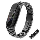 BDIG Correa Compatible Mi Band 4 Correas Metal,Pulsera de Acero Inoxidable Agradable para Mi Band 4 Correa (No Host) (Plus Negro)