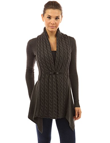 PattyBoutik Women Buckle Braid Front Cardigan (Dark Gray Large)
