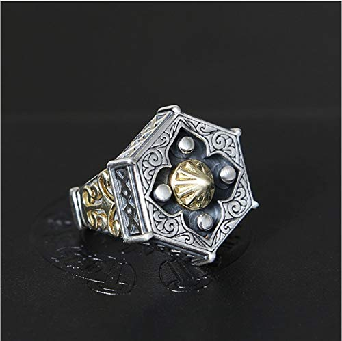 YOYOYAYA Ring 925 Silber Männer Schmuck Religion Klatsch Amulett Thai Silber Kreativ Retro Classic Partei Frau Paar Exquisite Fashion Simple Geburtstag Gedenk Geschenk