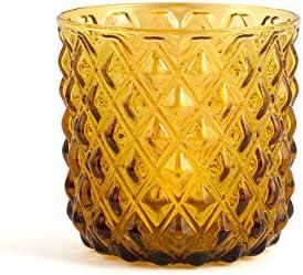 H&H 835513 Murano - Juego de 6 vasos, cristal, ámbar, cl30