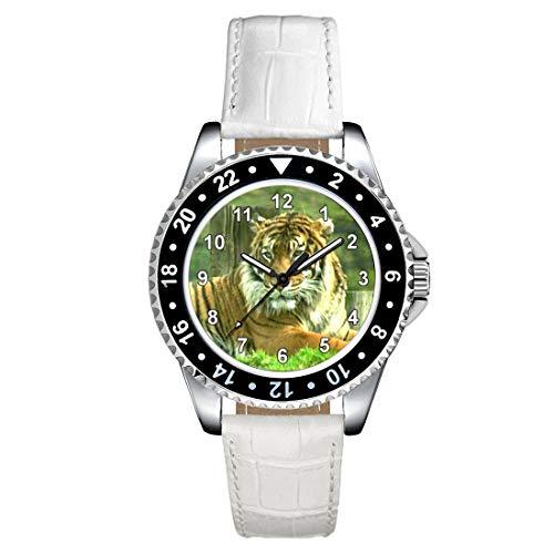 Timest - Tigre de Bengala - Reloj para Mujer con Correa de Cuero Blanco Analógico Cuarzo CSE021LW