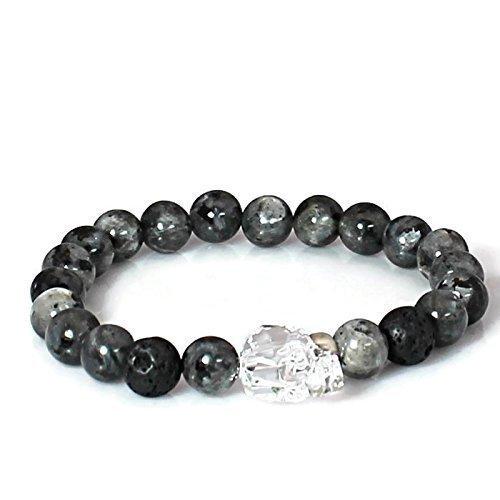 Beaded Crystal Skull Yoga Labradorite Bracelet