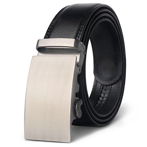 M.R Cinturón Hombre Cuero Cinturones Piel Automática Con Hebilla Trinquete Plateada