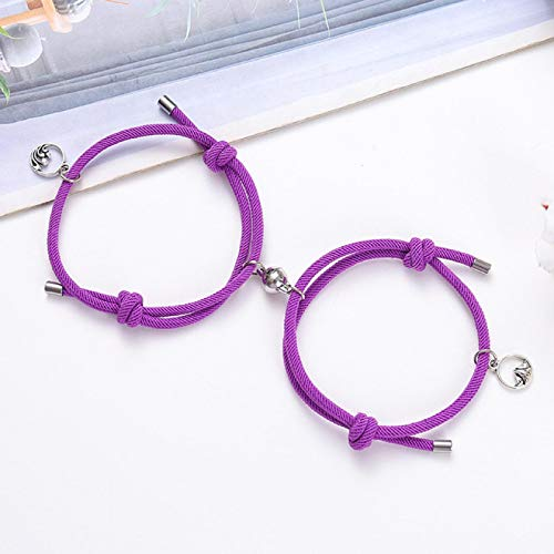 shangwang 2pcs Couple Bracelets Magnets Attract Each Other Lover Friendship Gift Bracelet Men And Women Charm Bracelet Jewelry 15