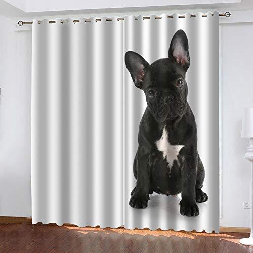 WLHRJ Cortina Opaca en Cocina el Salon dormitorios habitación Infantil 3D Impresión Digital Ojales Cortinas termica - 234x183 cm - Perro Animal Negro