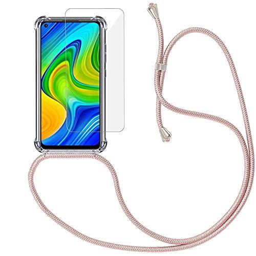 Yohii Funda con Cuerda para Xiaomi Redmi Note 9 + Protector Pantalla de Cristal Templado, Carcasa Transparente TPU Suave Silicon Colgante Ajustable Collar, Case para Xiaomi Redmi Note 9 - Oro Rosa