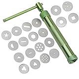 Estrusore di argilla, in lega di alluminio per pasta di zucchero, strumento di decorazione verde con 20 punte per fondente, torta e argilla