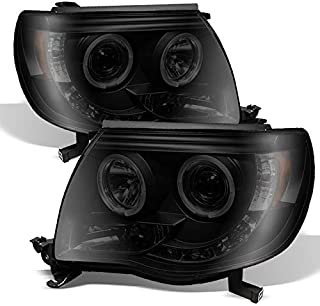 For Toyota Tacoma Pickup Black Smoke Dual Halo Ring Design Projector LED Replacement Headlights Lamps