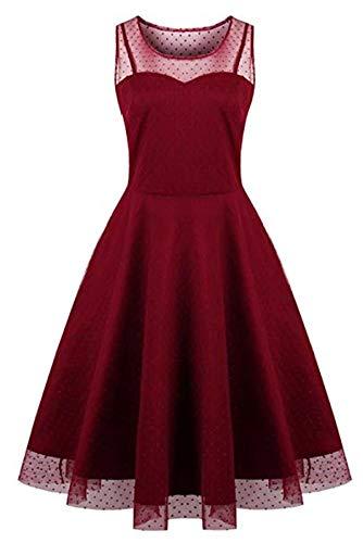 KILOLONE KILOLONE Damen Plus Size Elegant Kleider Spitzenkleid Cocktailkleid Rockabilly V-Ausschnitt Faltenrock
